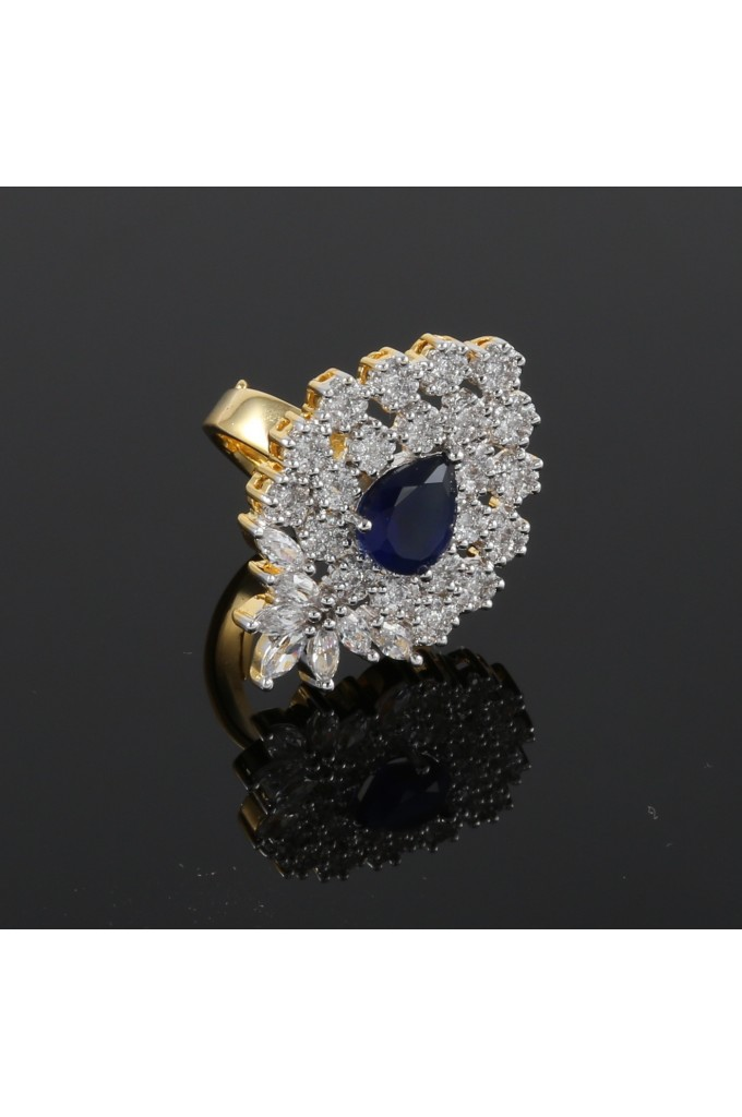 Cubic Zirconia and Sapphire Stone Studded Adjustable Ring