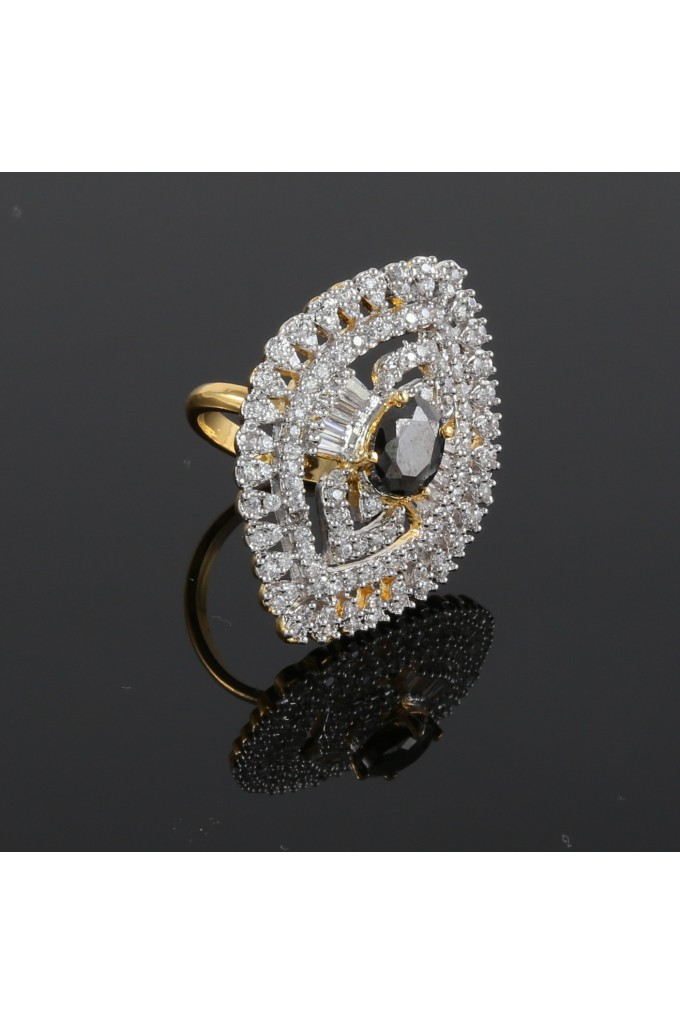 American Diamond Finger Ring with Black Stone