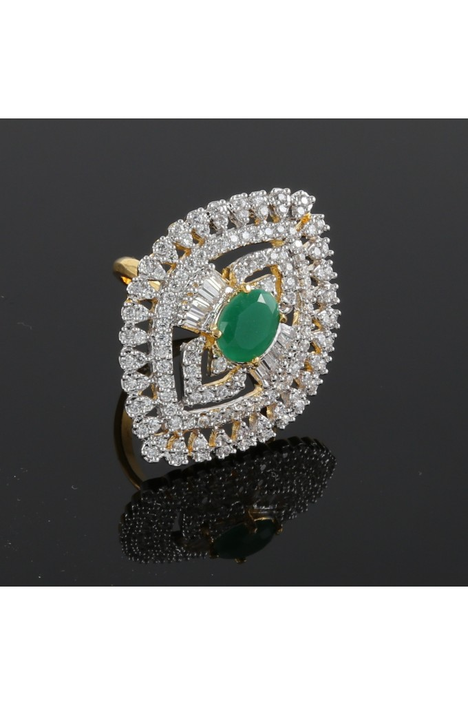 American Diamond Finger Ring with Semi Precious Emerald