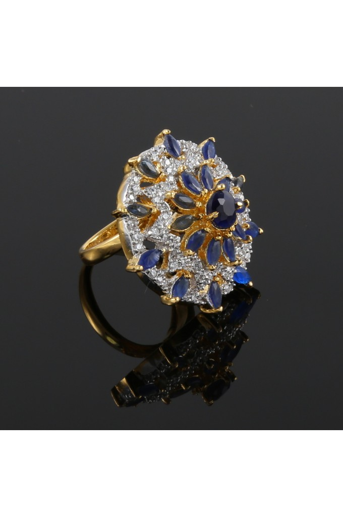 American Diamond and Sapphire Studded Finger Ring