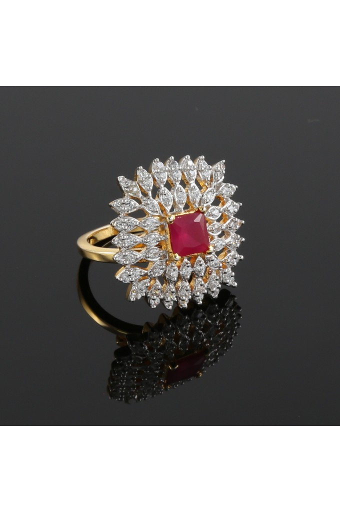 American Diamond Studded Square Finger Ring