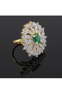 American Diamond Studded Round Finger Ring