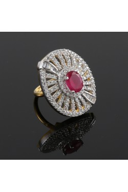 American Diamond and Ruby Studded Adjustable Finger Ring
