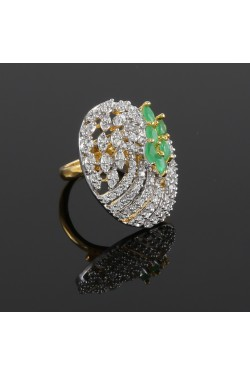 American Diamond with Emerald Studded Finger Ring