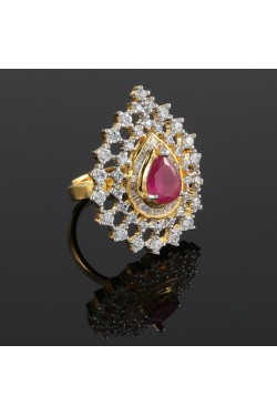 Pear Shape American Diamond Studded Finger Ring
