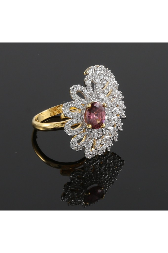 American Diamond with Rhodolite Studded Finger Ring