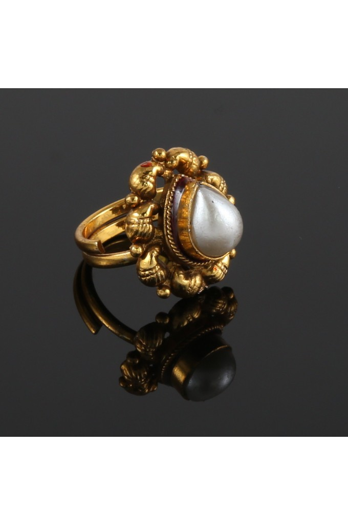 Antique Ring Pear Shape with Faux Pearl