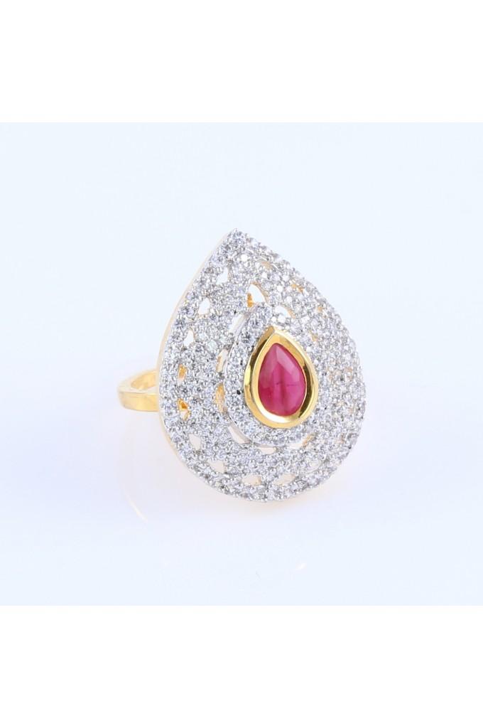 Interchangeable Stones American Diamond Finger Ring