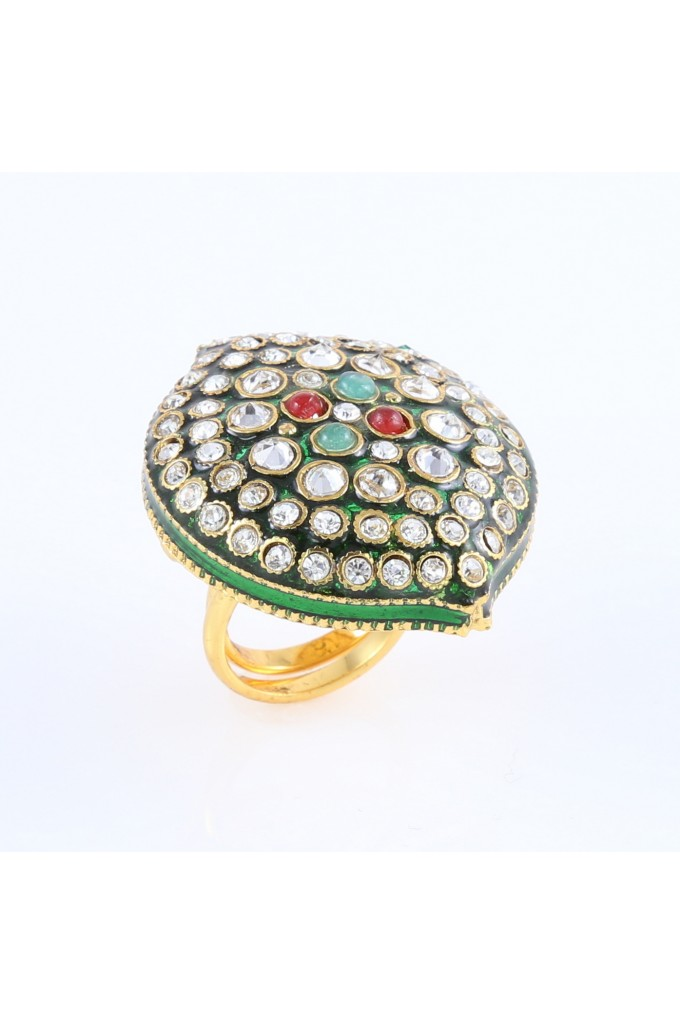 Antique Ring With Green Enamel And White Stones
