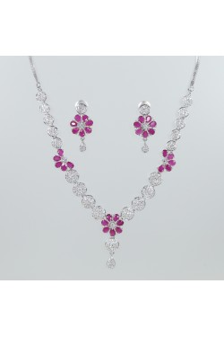American Diamond and Ruby Flower Necklace Set