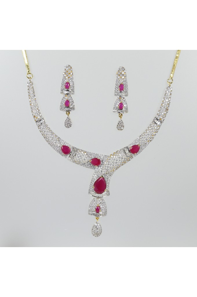 American Diamond and Ruby Studded Contemporary Necklace