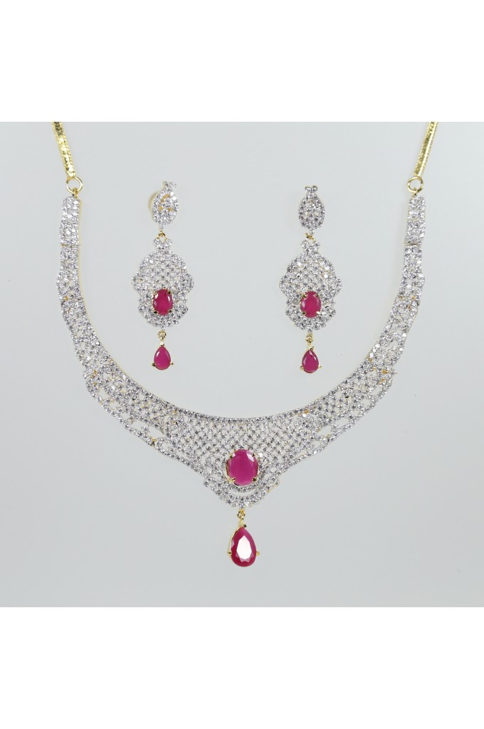Cubic Zirconia and Ruby Studded Necklace Set