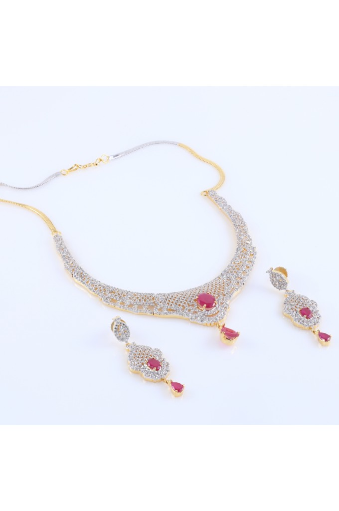 Cubic Zirconia Jewelry Sets : Cubic zirconia and ruby studded necklace set
