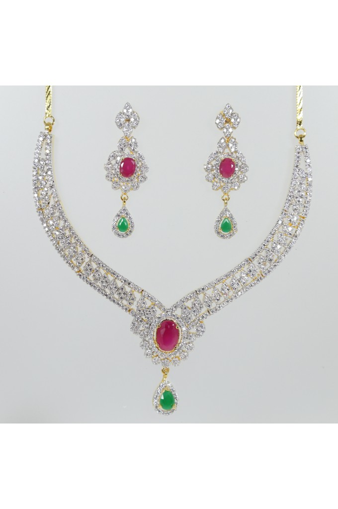 American Diamond Necklace with Ruby and Emeralds