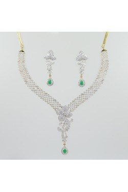 American Diamond and Emerald Studded Necklace