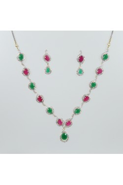 Ruby and Emerald Neckalce with American Diamonds