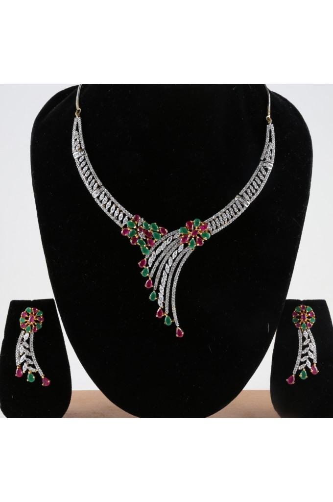American Diamond Studded Wedding Necklace
