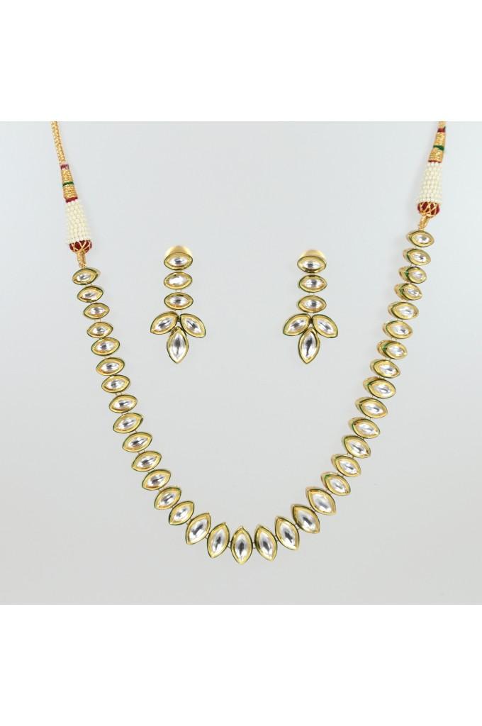 White Kundan Necklace Set