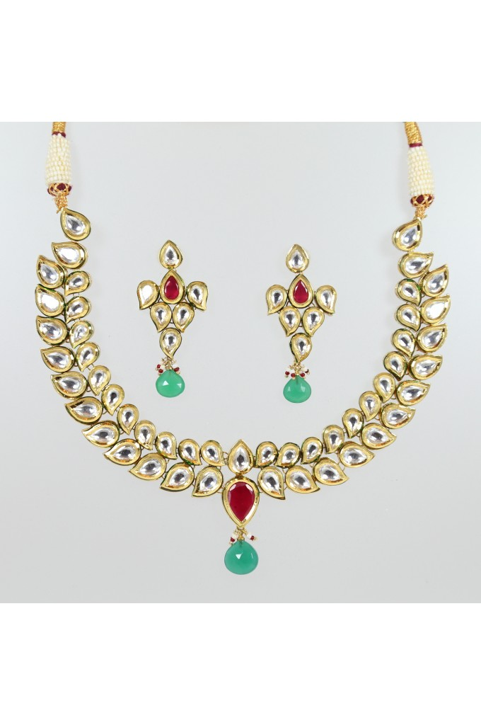 Kundan Necklace Double String Style