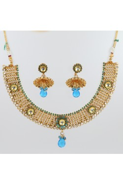 Antique Gold Finish Necklace Set