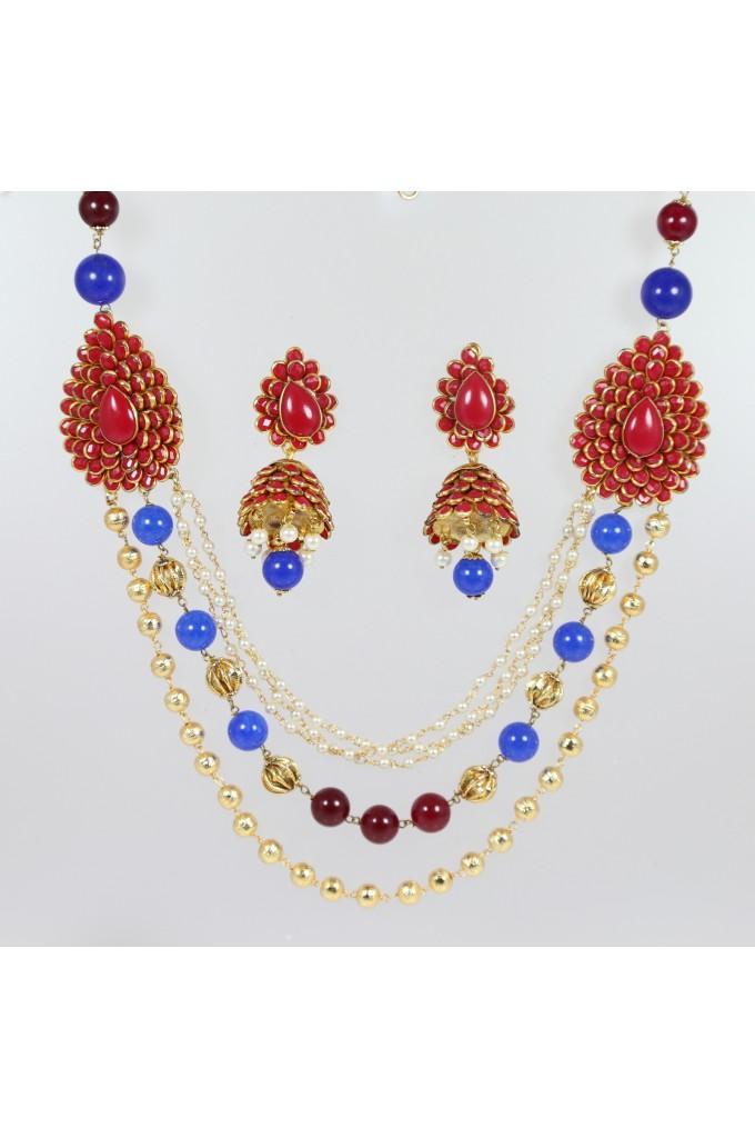Antique Mala Layered Necklace Set