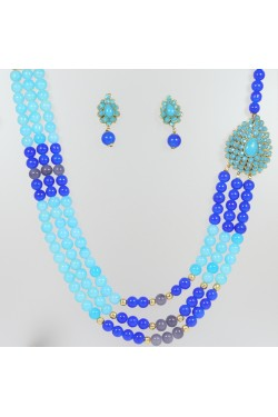 Multi Layered Blue Stone Necklace Set