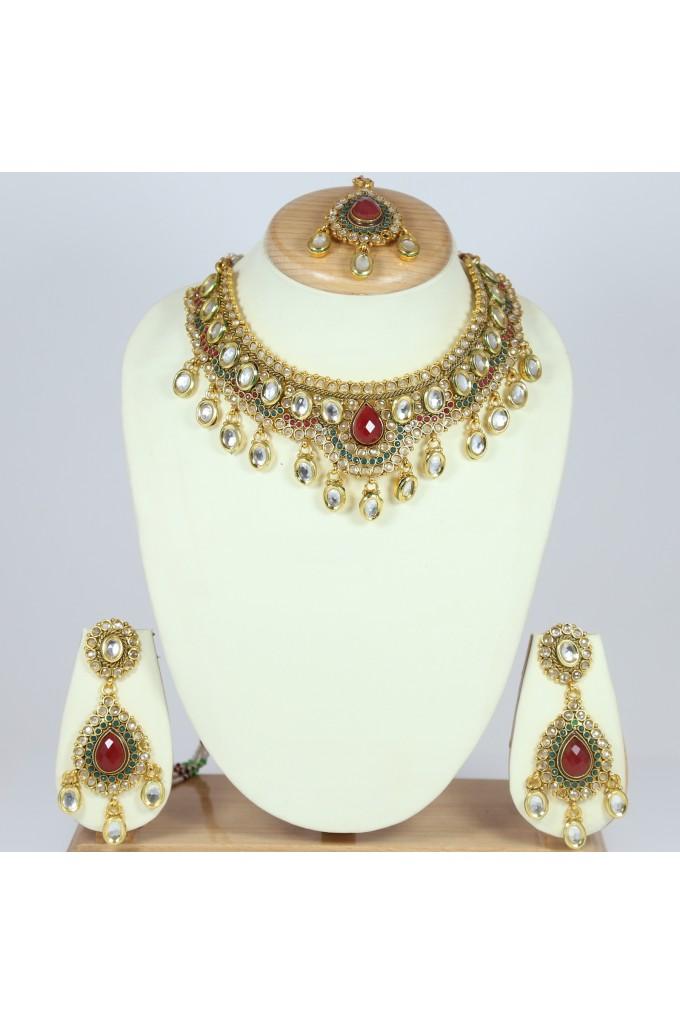 Antique Style Bridal Necklace Set with Tikka