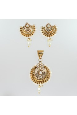 Antique Pendant Set with Faux Pearls