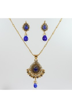 Antique Pendant Set Gold and Blue