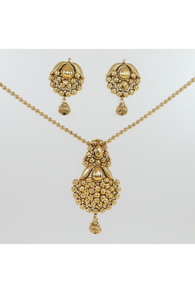 Ethnic Gold Finish Pendant Set