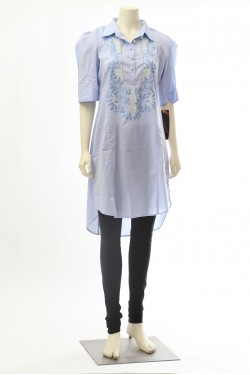 Light Blue Cotton Kurti Top