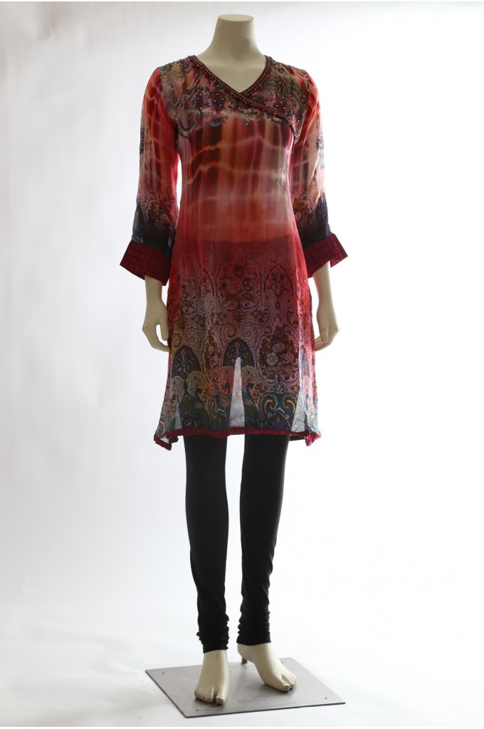 Printed Red Georgette Kurti