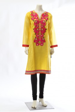 Yellow Chanderi Cotton Kurti