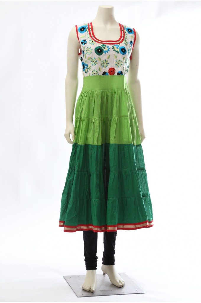 Shaded Green Anarkali Cotton Kurti