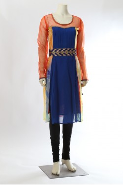 Blue and Orange Georgette Kurti