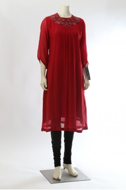 Red Chiffon Long Kurti