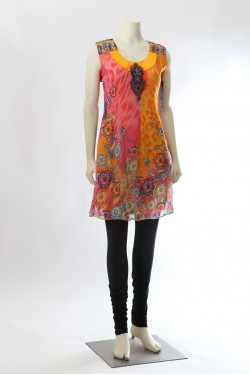 Pink and Orange Printed Kurti