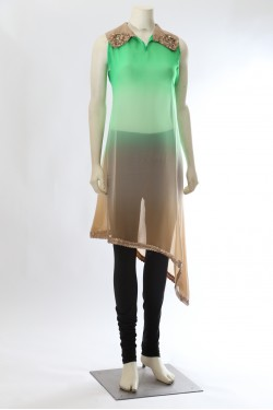 Green and Brown Shaded Kurti