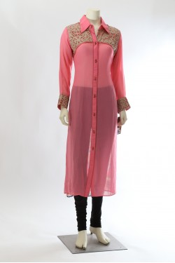 Pink Long Kurti Collar Neck