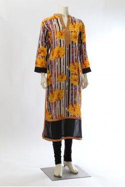 Yellow and Black Flower Print Kurti