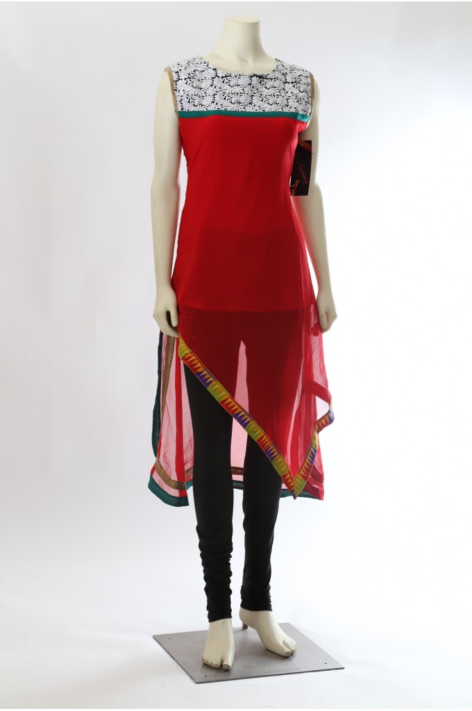 Red Georgette Stylish Kurti