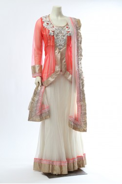 Neon Pink and Cream Jacket Lehenga
