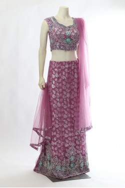 Purple Net Lehena Choli