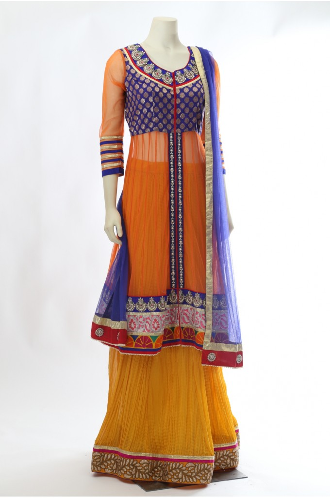 Orange and Yellow Long Choli Lehenga