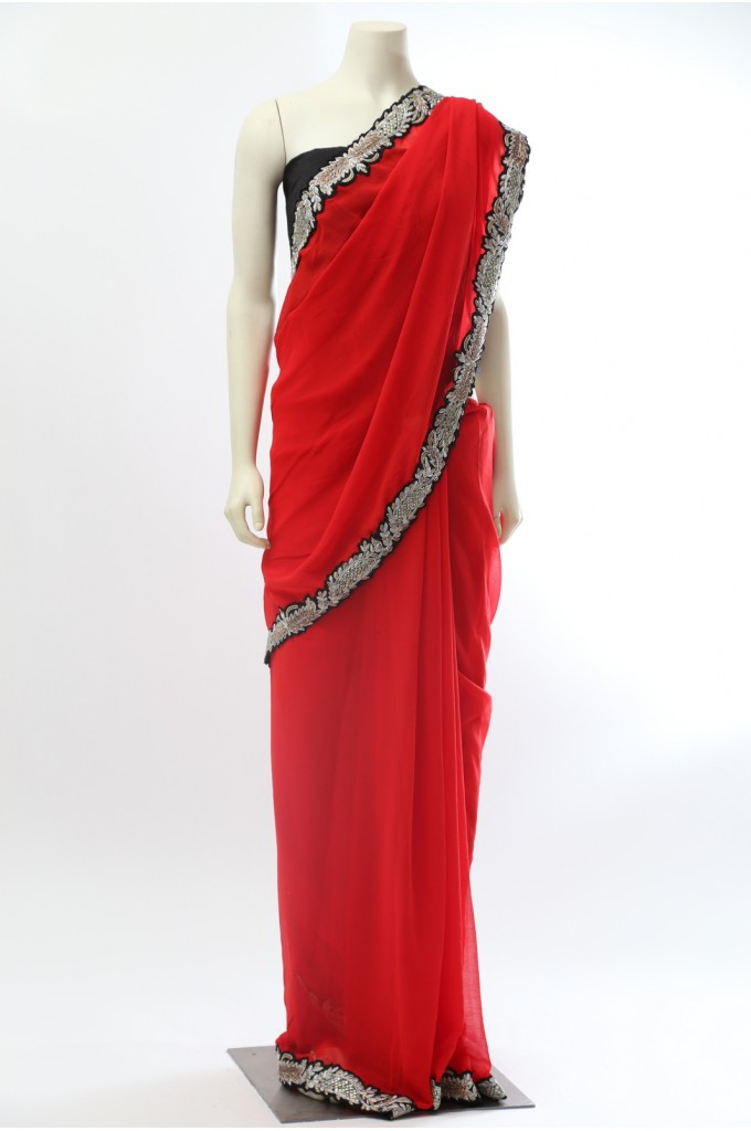 Red Chiffon Saree with Border