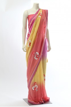 Pink and Yellow Shaded Georgette Saree