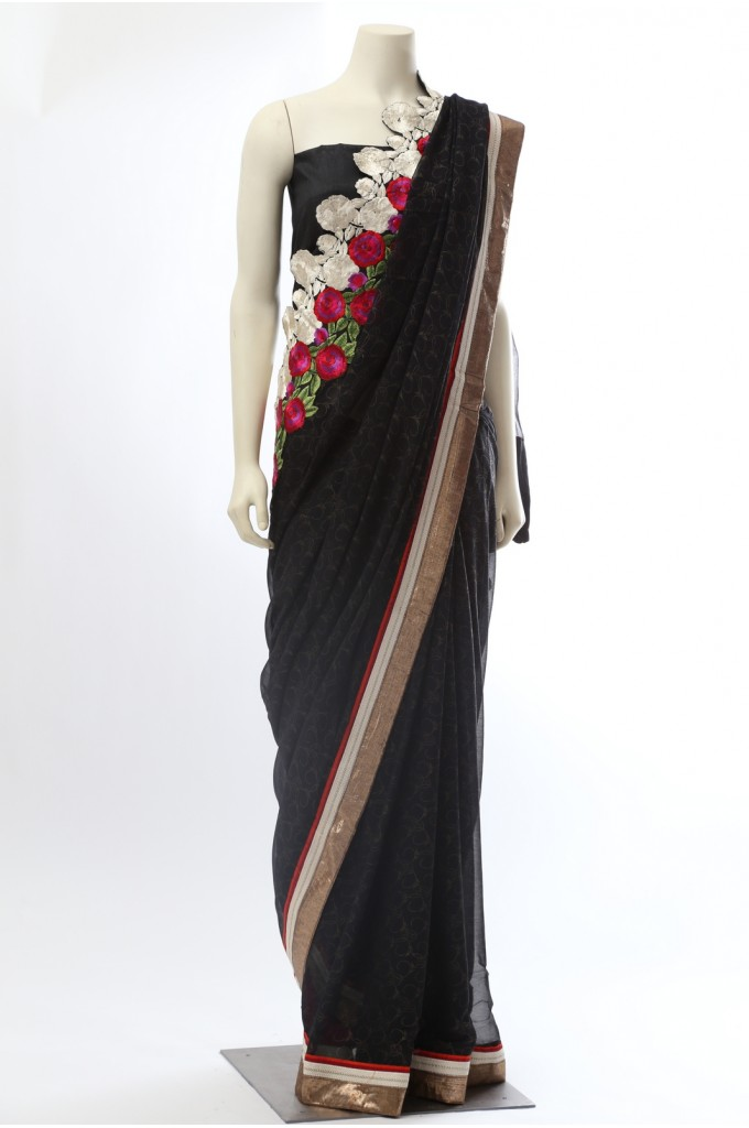 Black Self Georgette Saree