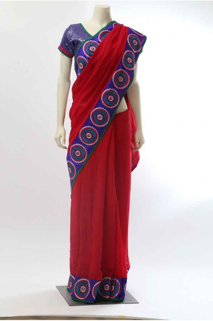 Red Georgette Saree with Thick Border