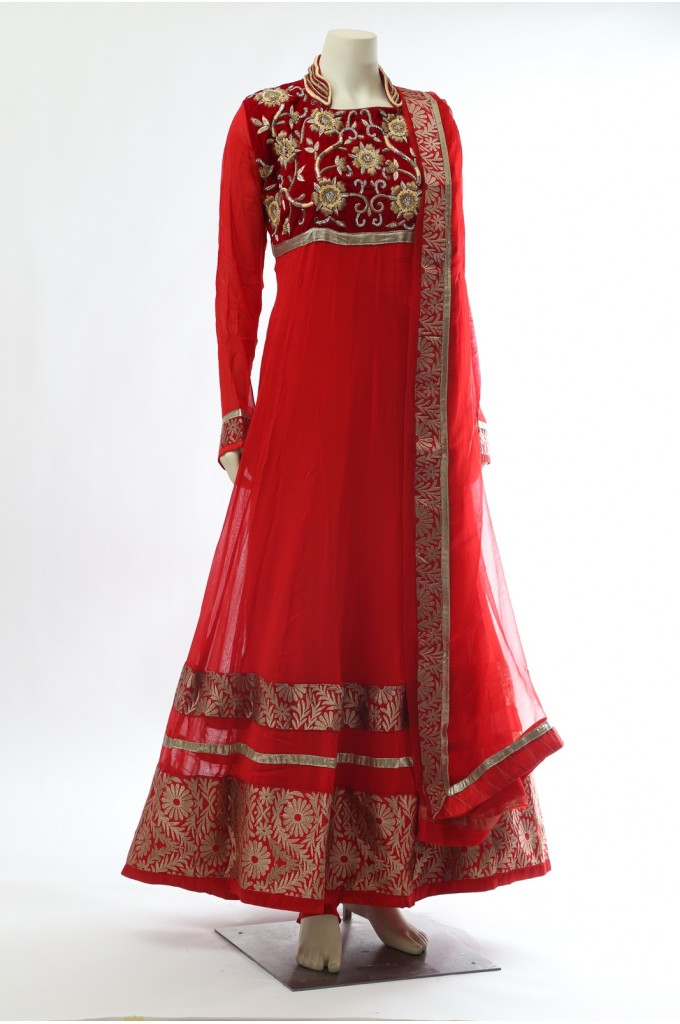 Red Velvet Floor Touch Anarkali