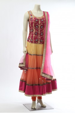 Yellow Orange Pink Net Anarkali